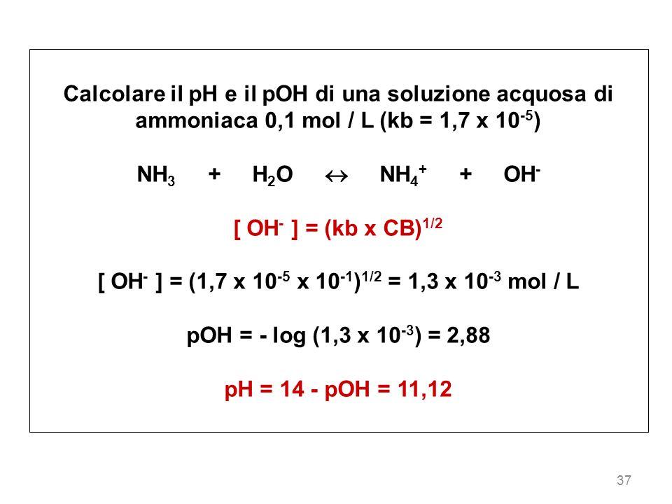 [ OH- ] = (1,7 x 10-5 x 10-1)1/2 = 1,3 x 10-3 mol / L